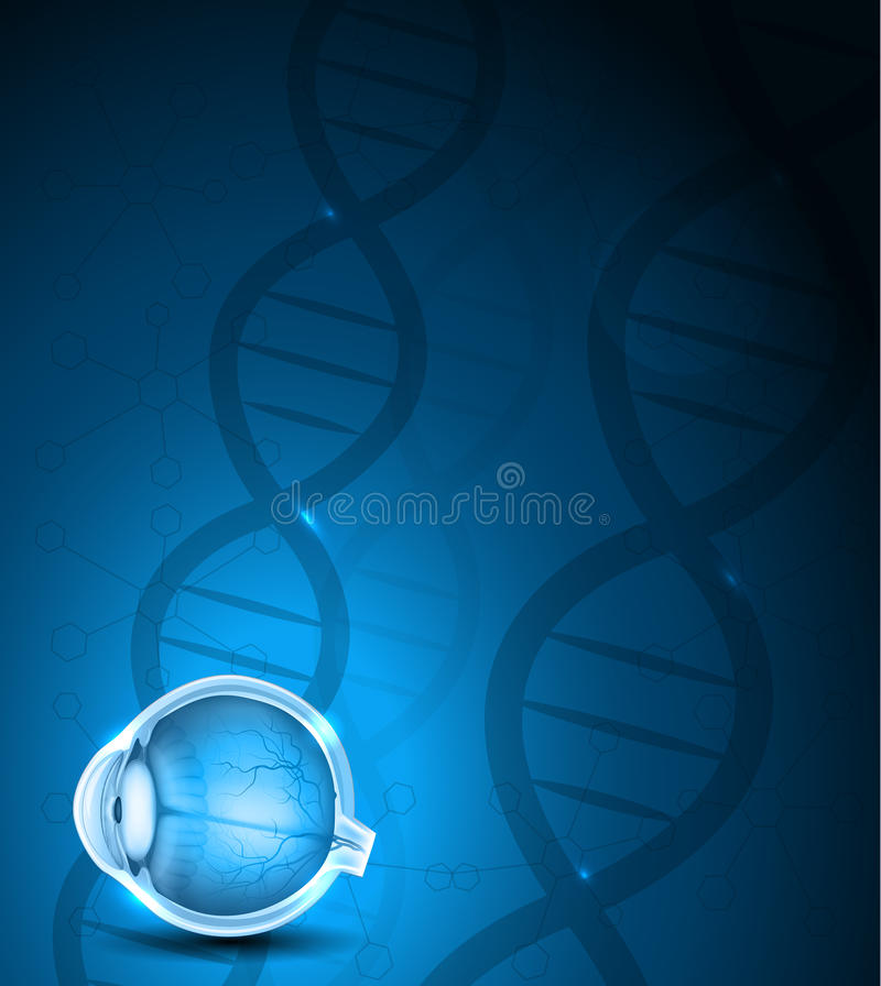 Human eye and DNA background. Human eye anatomy and blue DNA background stock illustration