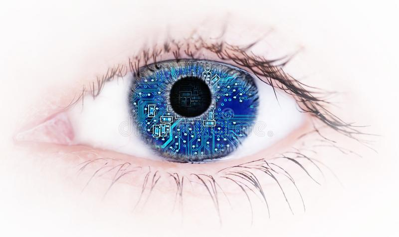 Human eye with with electronic circuit board reflection , Abstract stock photos