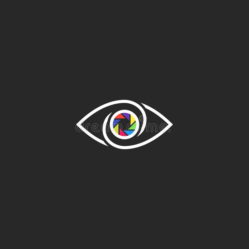 The human eye logo, photographer or photo studio logotype, the pupil in the form of the lens aperture.  stock illustration