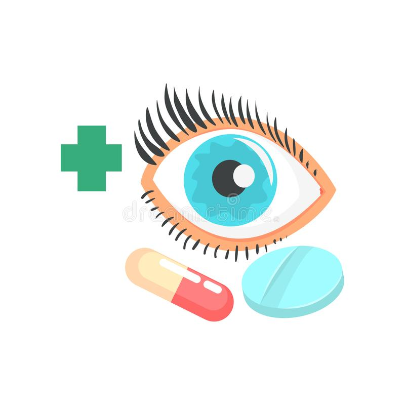 Human eye and pills, ophthalmology concept cartoon vector Illustration. On a white background vector illustration