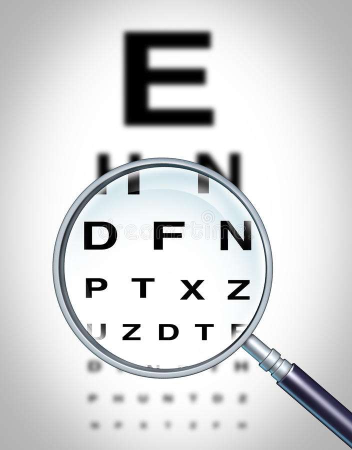 Human Eye Vision. Chart and sight medical optometrist symbol for the Ophthalmology department in a hospital with a magnifying glass focusing on the blurred vector illustration