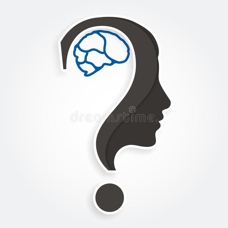 Human face and brain with question mark. Education and innovation concept. Vector. vector illustration