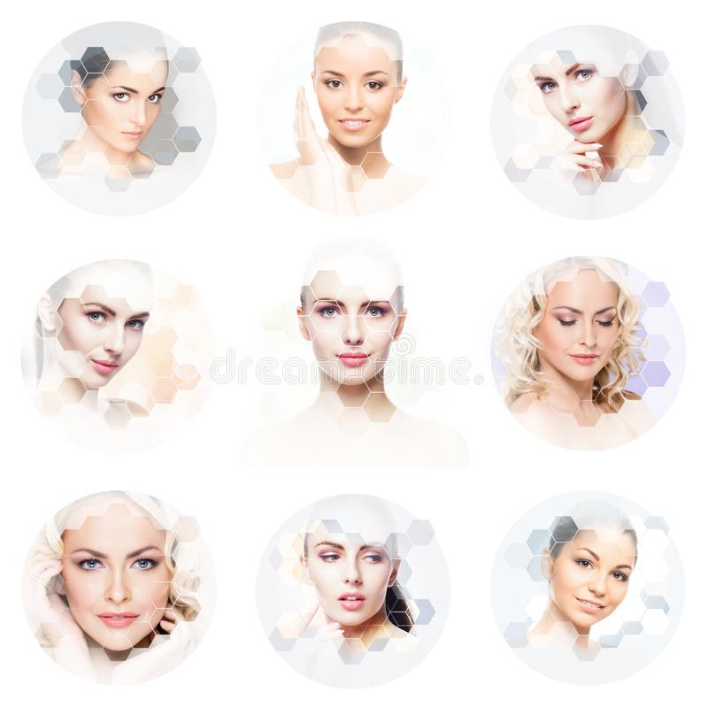 Human face in a collage. Young and healthy woman in plastic surgery, medicine, spa and face lifting concept collection. royalty free stock photo