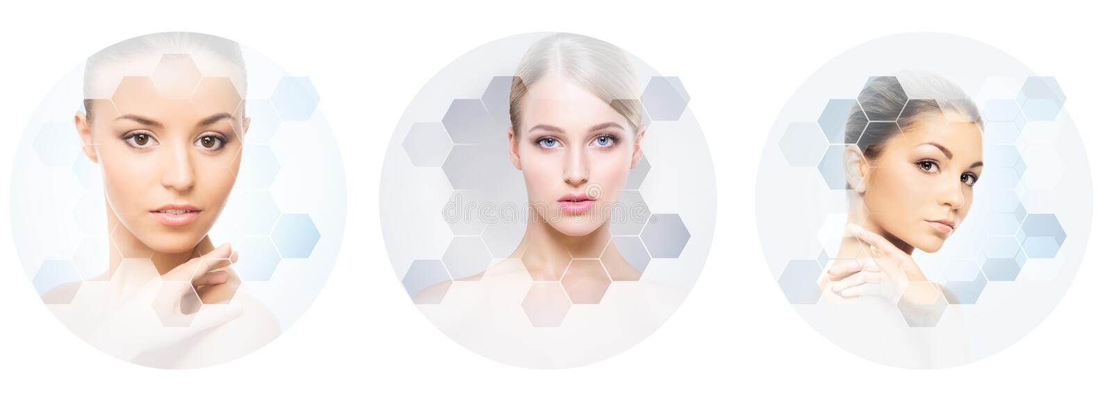 Human face in a collage. Young and healthy woman in plastic surgery, medicine, spa and face lifting concept collection. stock images