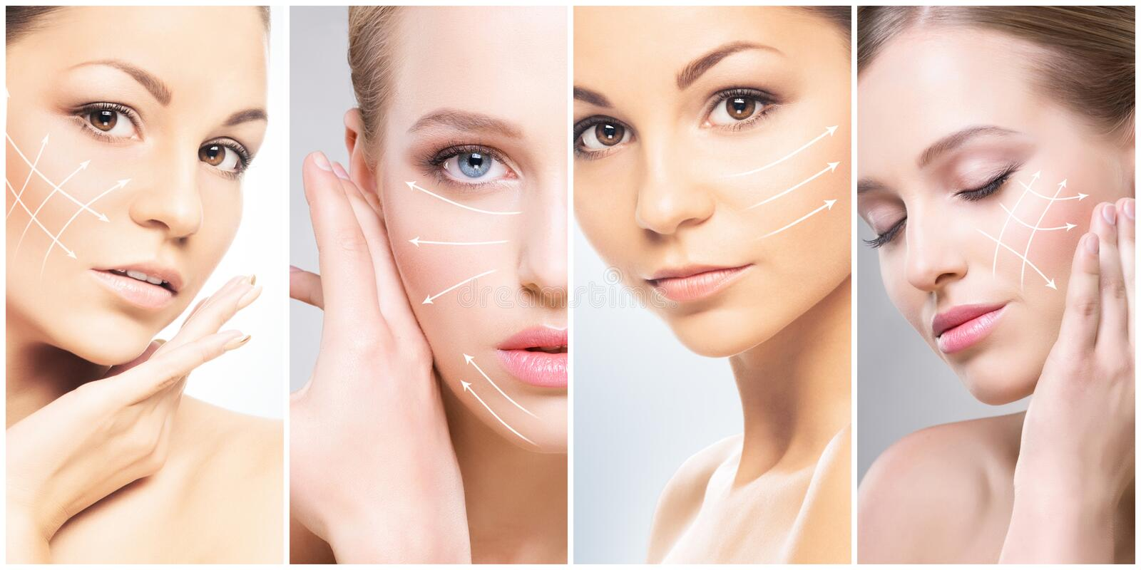 Human face in a collage. Young and healthy woman in plastic surgery, medicine, spa and face lifting concept. stock photography