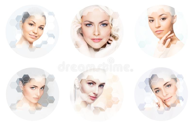 Human face in a collage. Young and healthy woman in plastic surgery, medicine, spa and face lifting concept collection. royalty free stock photos