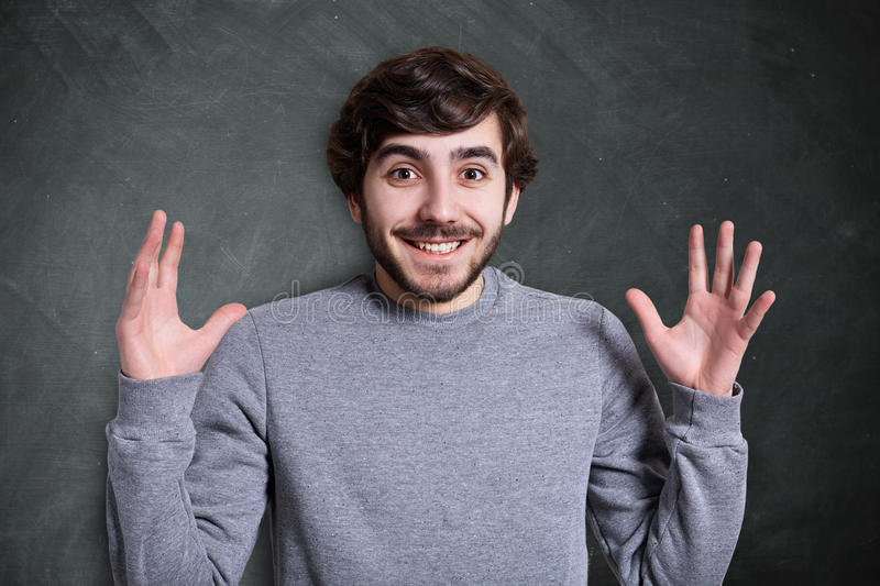 Human face expressions and emotions. Portrait of young hipster w royalty free stock photo