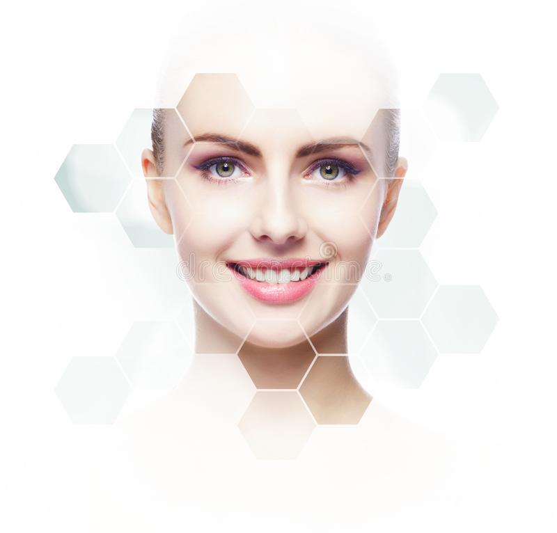 Human face in honeycomb. Young and healthy girl in plastic surgery, medicine, spa and face lifting concept. Human face in honeycomb. Young and healthy woman in stock image