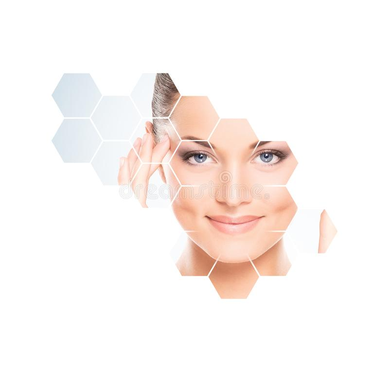 Human face in honeycomb. Young and healthy woman in plastic surgery, medicine, spa and face lifting concept. Human face in honeycomb. Young and healthy girl in stock photos