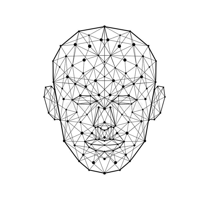 Human face low polygon. Wireframe mash head shape isolated on white background. Vector Illustration stock illustration