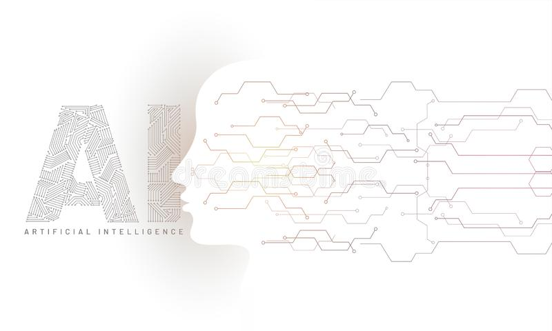 Human face made by digital circuit with AI text generated digital structure for Artificial Intelligence (AI) web banner concept. stock illustration