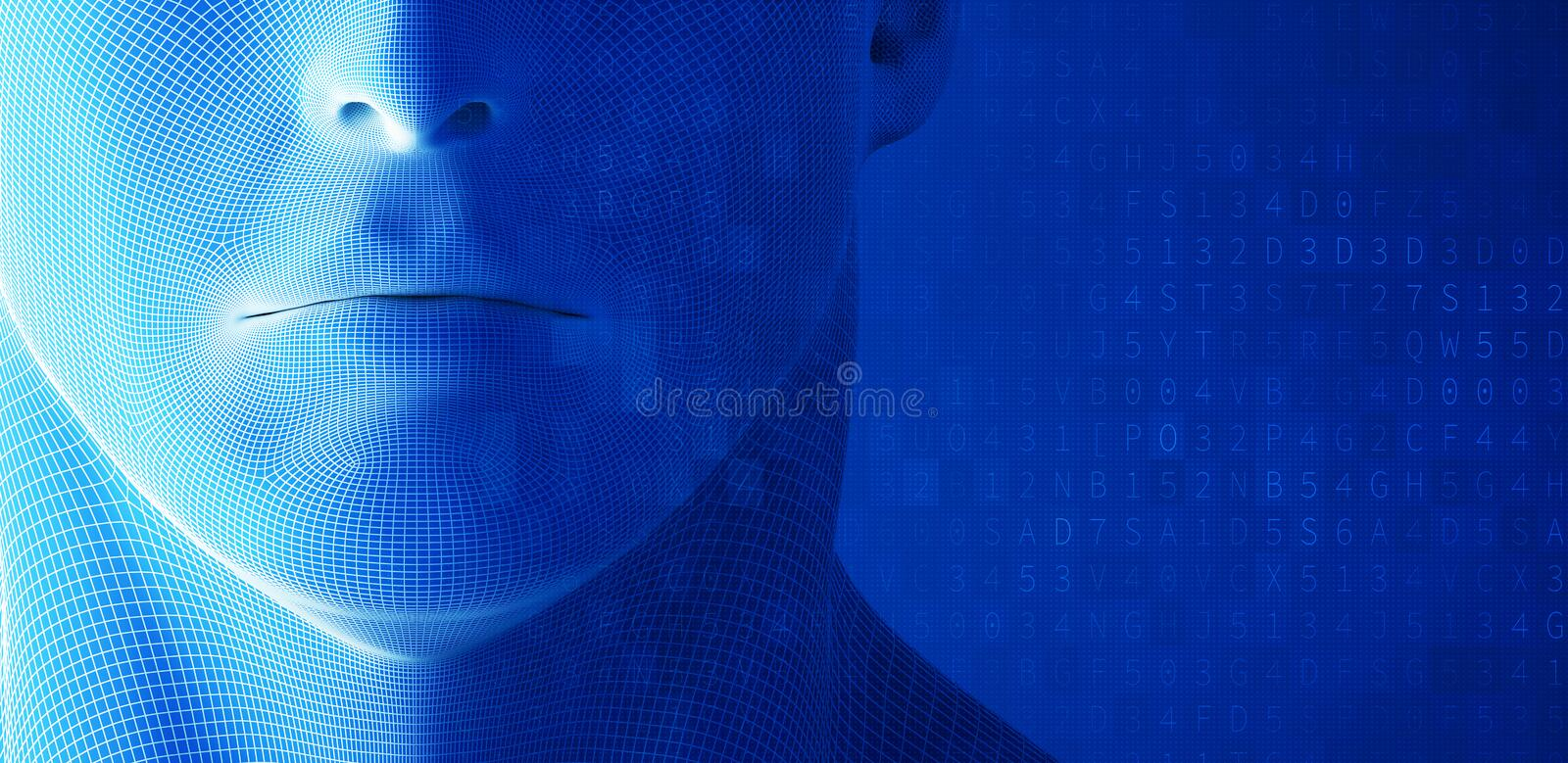 Human face, mouth with data code on blue background in technology concept, artificial intelligence. 3d illustration stock illustration