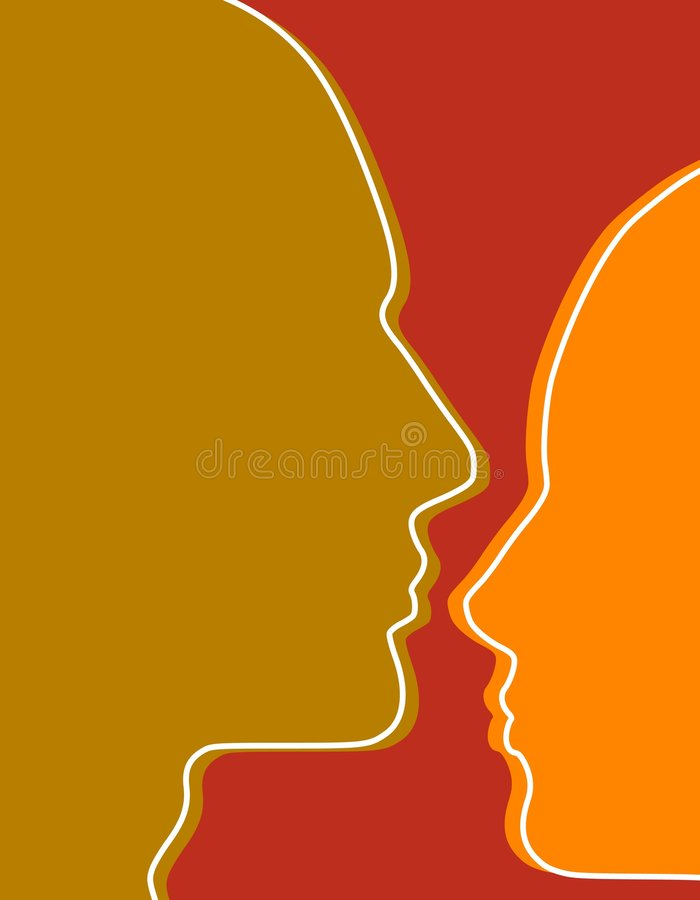 Human Face Profiles Background royalty free illustration