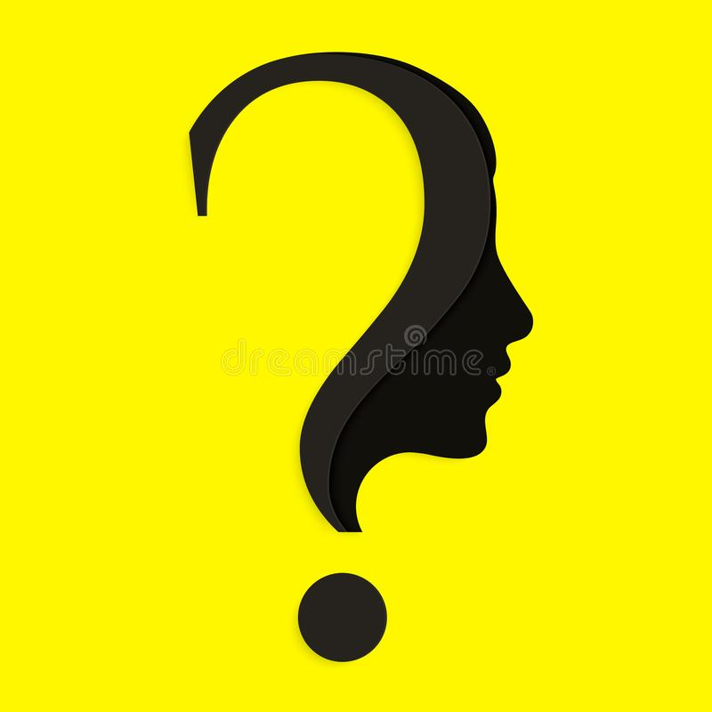 Human face with question mark. Education and innovation concept. Vector. royalty free illustration