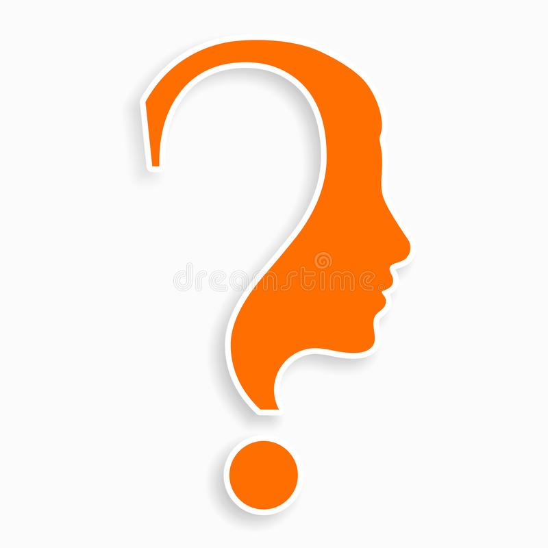 Human face with question mark. Education and innovation concept. royalty free illustration
