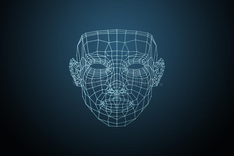 Human face, triangular glowing grid, Biometric verification face recognition. Technology of face recognition on. Human face triangular glowing grid Biometric royalty free illustration