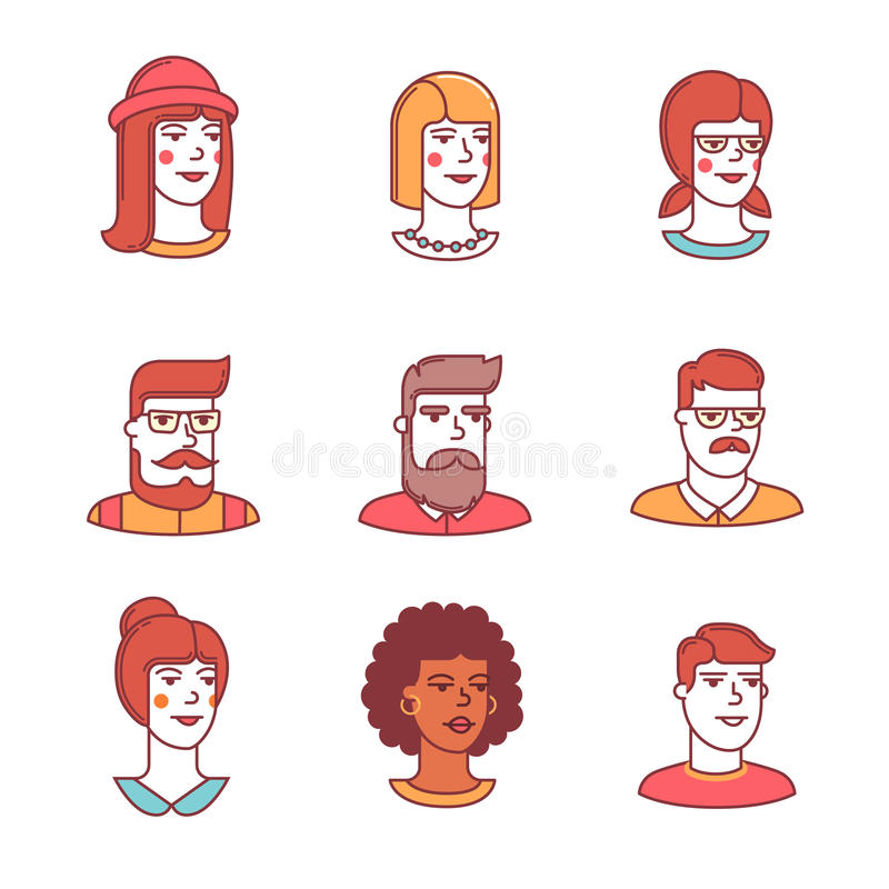 Human faces icons thin line set. Hipsters. Human faces icons thin line set. Hipster characters. Flat style color vector symbols isolated on white vector illustration