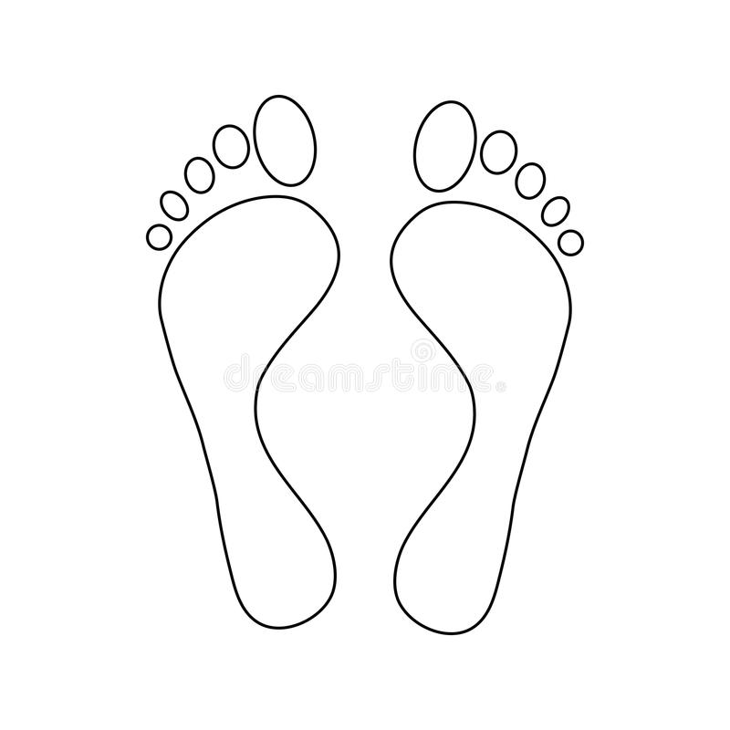 Human feet icon, outline style. Human feet icon in outline style isolated on white background vector illustration
