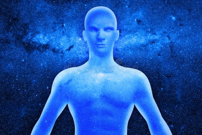 Human figure with energy rays around his body. Human figure in concentration with energy rays around his body stock illustration