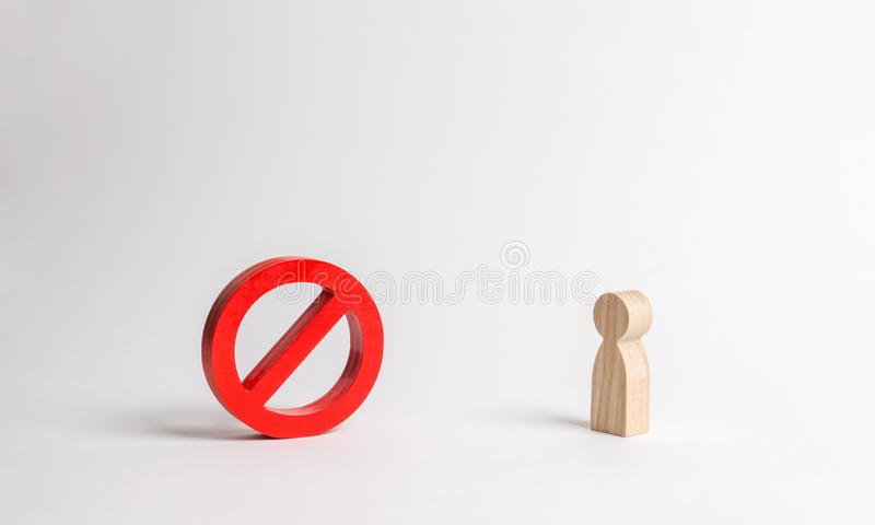 Human figure is looking at No sign or No symbol. prohibition and restriction. Censorship, control over the Internet. And information. Restrictive laws. Crazy royalty free stock images