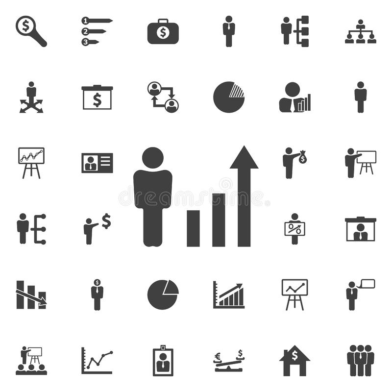 Human figures as a growing graph icon. vector illustration