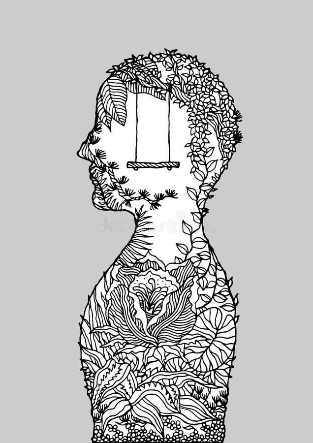 Human flower head spirit power energy  abstract art illustration design hand drawn. Human flower head spirit power energy  abstract art illustration design hand royalty free illustration