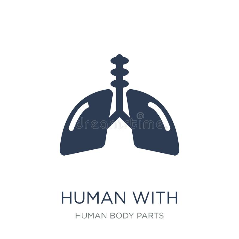 Human with focus on the lungs icon. Trendy flat vector Human wit vector illustration