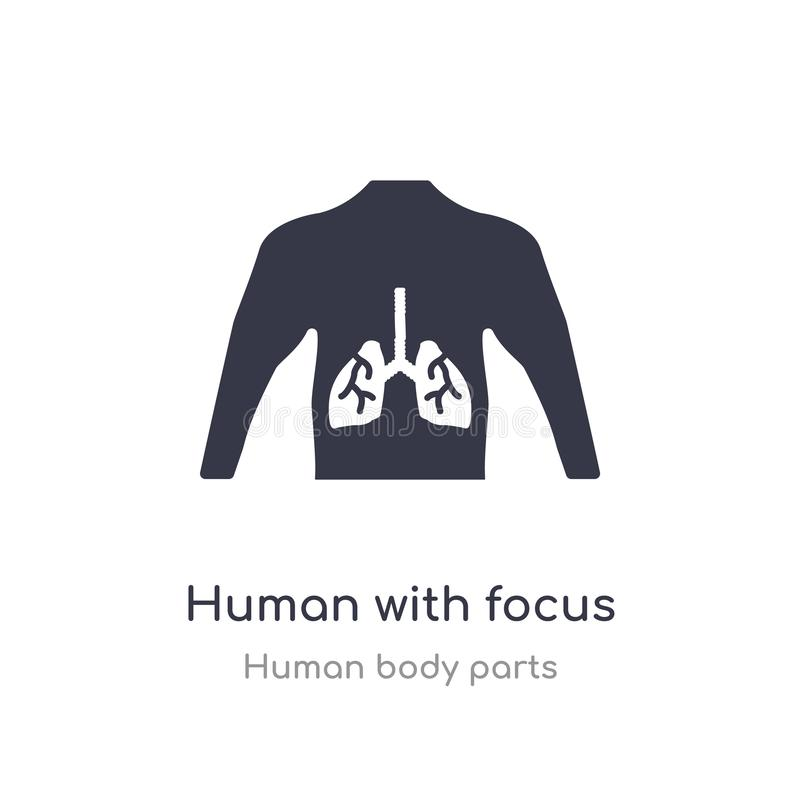 human with focus on the lungs outline icon. isolated line vector illustration from human body parts collection. editable thin vector illustration