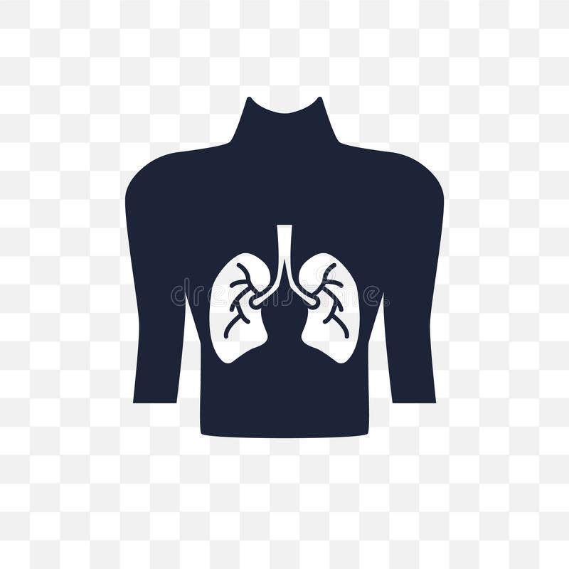 Human with focus on the lungs transparent icon. Human with focus vector illustration