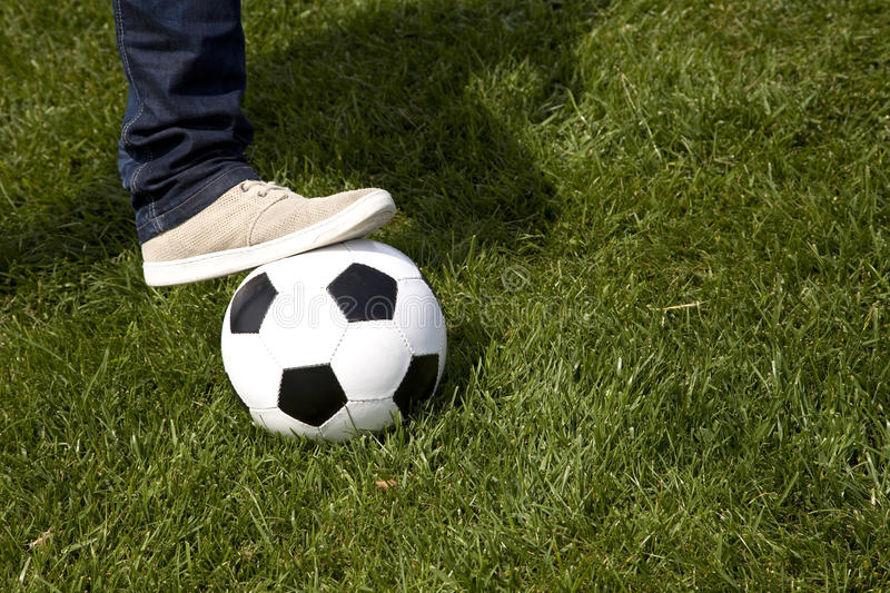 Download Human Foot And A Soccer Ball Stock Image - Image of leisure, grassland: 14325169