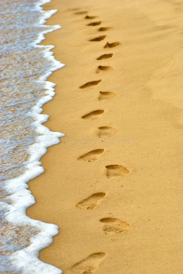 Human footprints on sand at the beach royalty free stock image