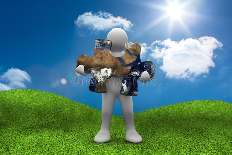 Human form holding a jigsaw puzzle with part of the world on surface. With blue bright sky on the background stock illustration