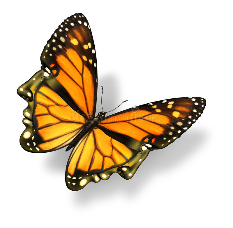 Human Freedom. And free your mind medical health care concept with a monarch butterfly insect in the shape of a human head and face flying in the air as a royalty free illustration