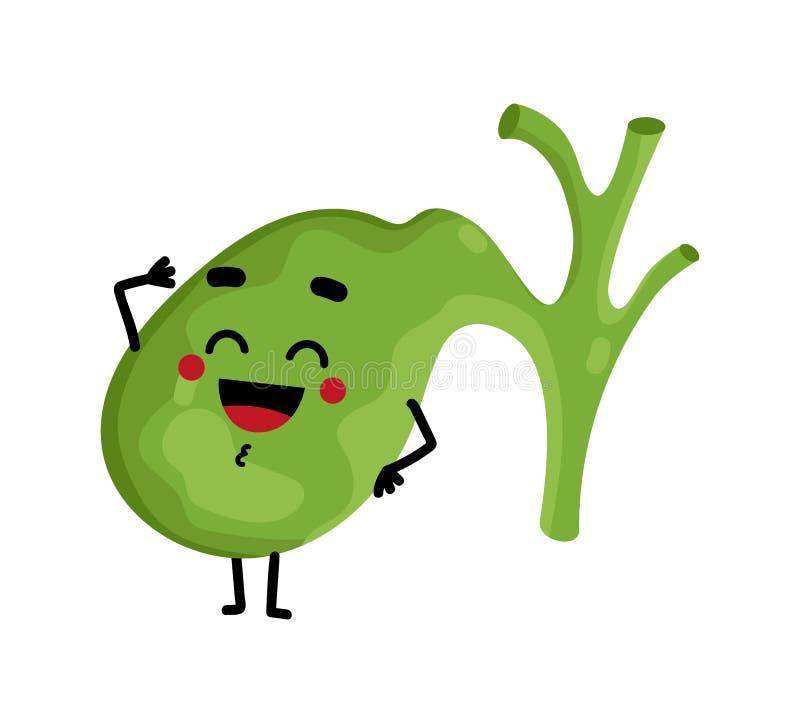 Human gallbladder cute cartoon character stock illustration