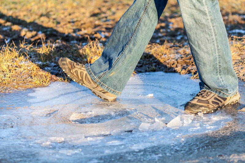 Download Human goes on ice area stock image. Image of vintage - 83721645