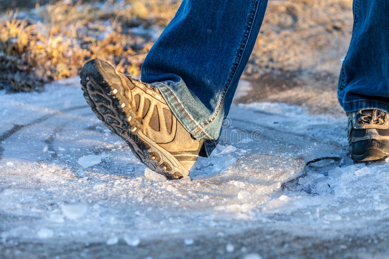 Download Human Goes On Ice Area Stock Photo - Image: 83722006