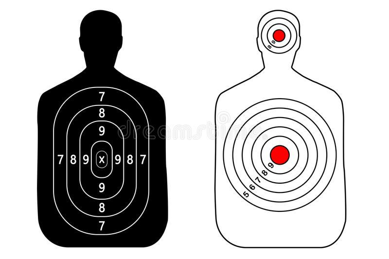 Human gun target on white background. Silhouette of a man. royalty free illustration