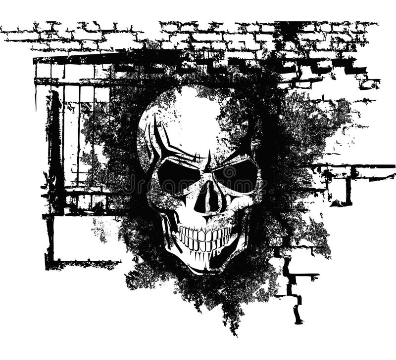 Human Halloween Skull. Vector scary Halloween grunge skull with bricks vector illustration