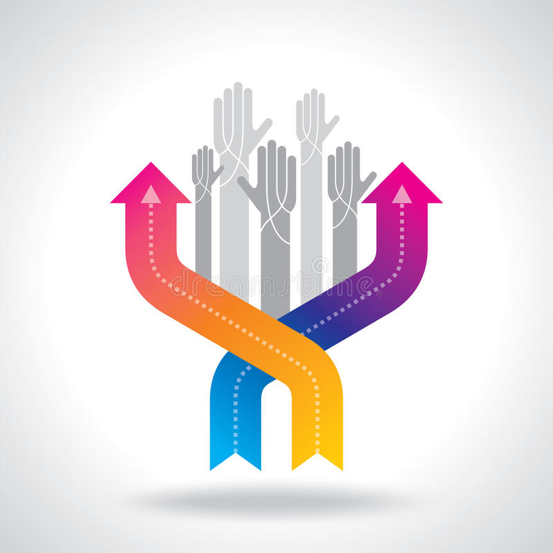 Human hand and business chart arrows vector illustration