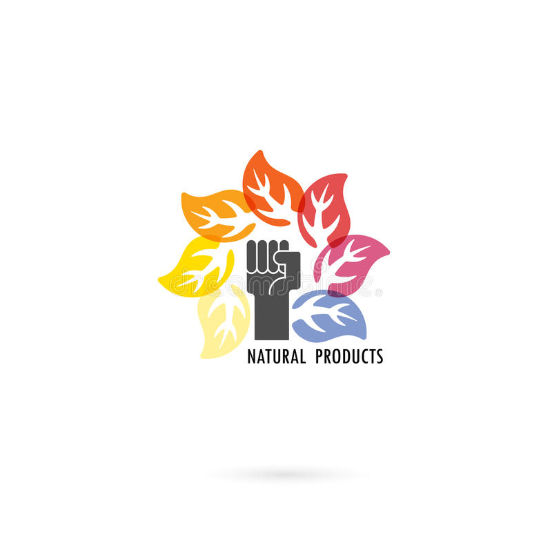 Human hand and circle of colorful leaves icon with nature concept.Leaves vector logo design template.Design for Business vector illustration