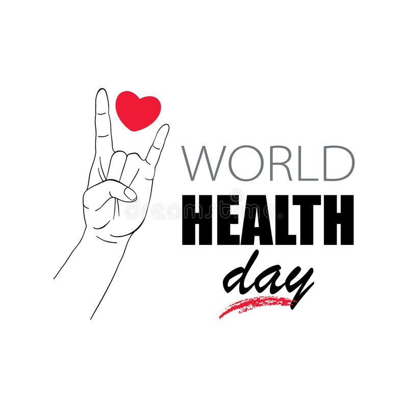 Human hand demonstration sign of the horns. Concept for World Health Day. vector illustration