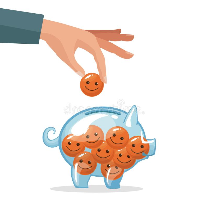 Human hand depositing coin in the form of happy face. Vector illustration vector illustration