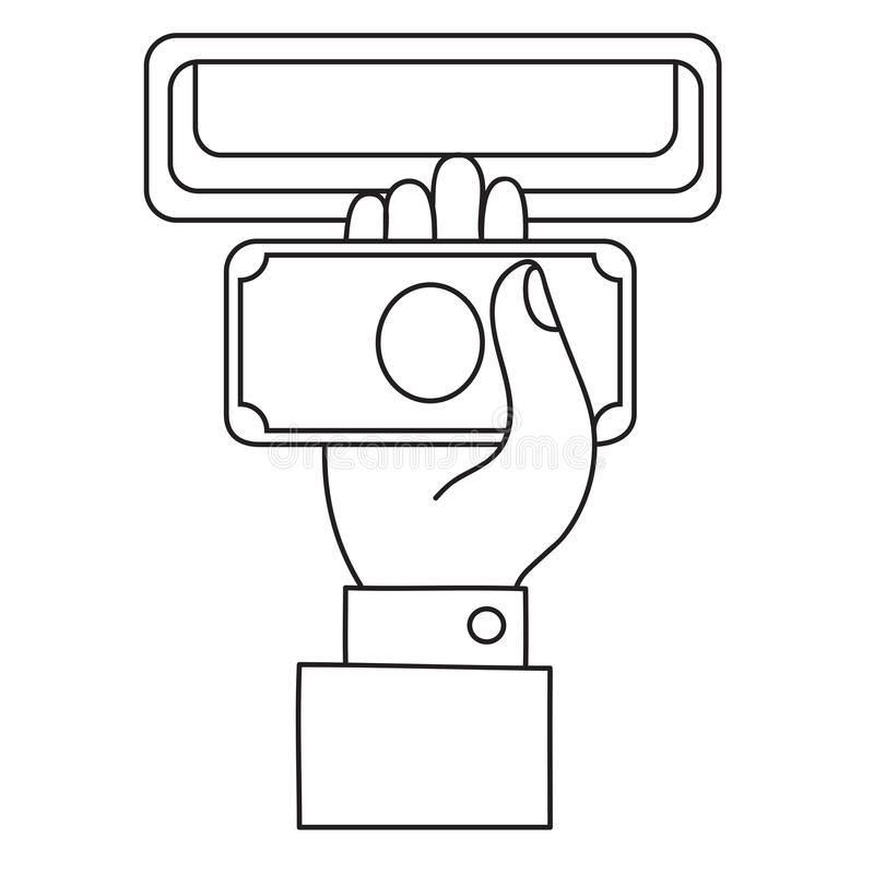 Human hand with dollar banknote to a cash validator. Flat style vector icon. vector illustration