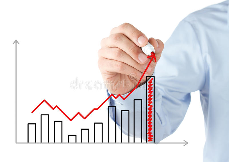 Human hand drawing chart. Businessman drawing a stock chart royalty free stock images
