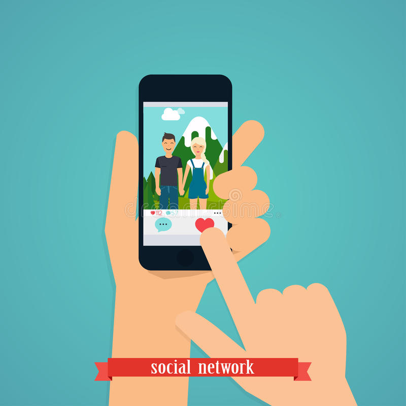 Human hand finger pressing pressing like (love) button on a phone with social media app. Social Network Vector Concept. royalty free illustration