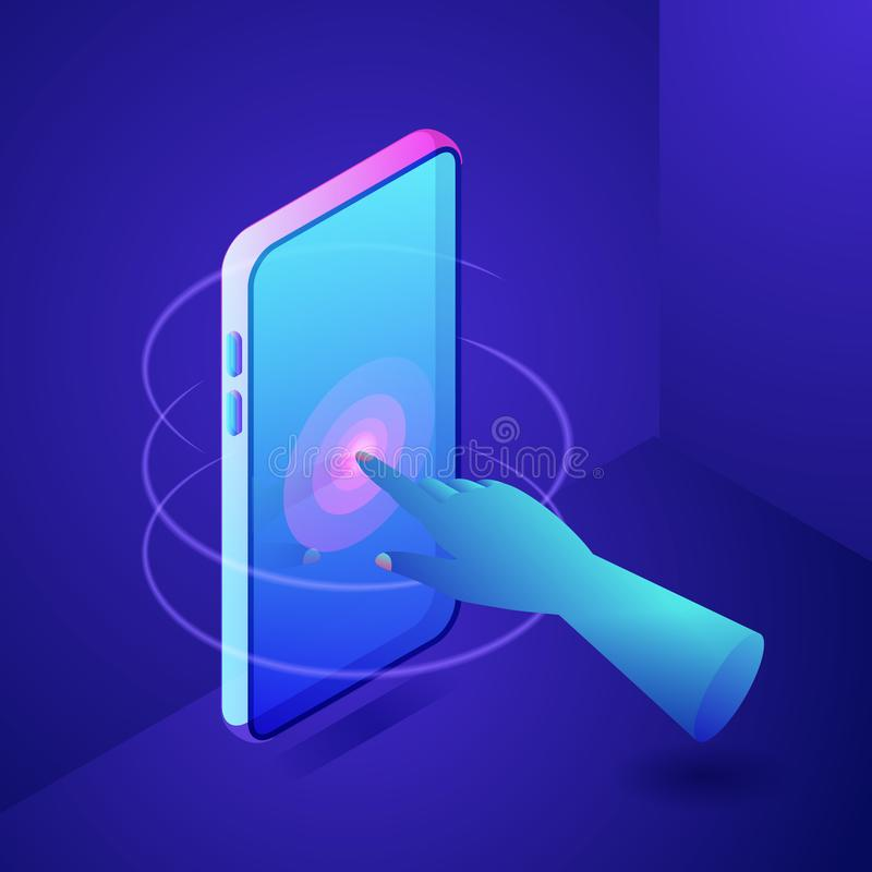 Hand touching screen on phone. Digital interactive technology concept. Vector neon gradients 3d isometric illustration vector illustration