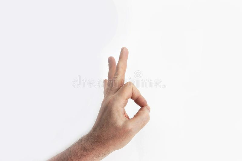 Human hand gesture is all right everything is OK royalty free stock image
