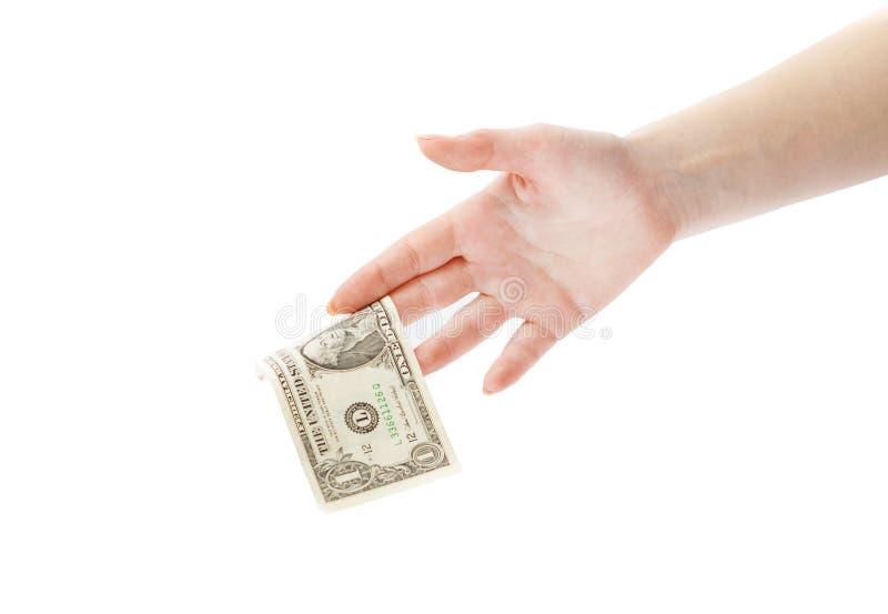 HUMAN HAND GIVING MONEY stock photography
