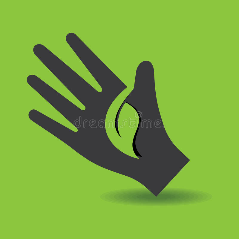 Human hand with green leaf symbol concept royalty free illustration