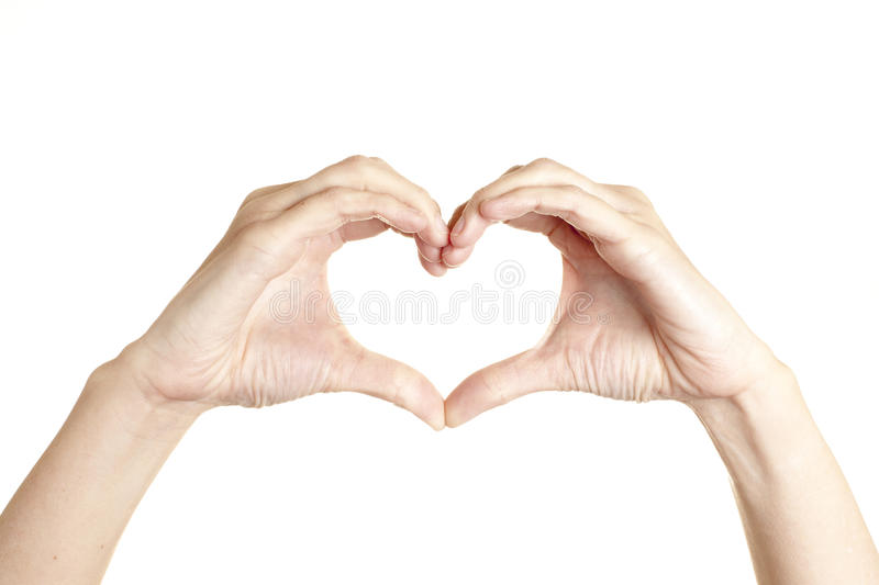 Human hand heart. On white background royalty free stock photography